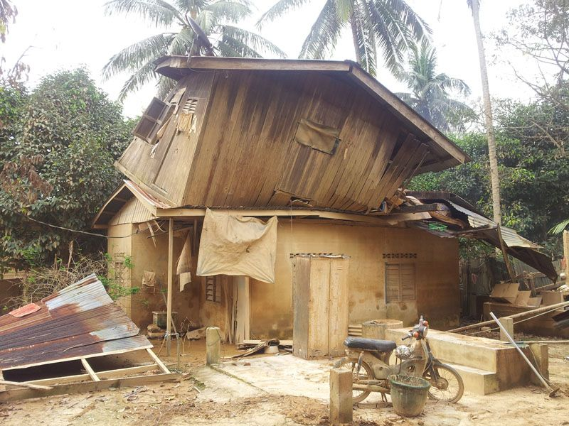 The 2nd floor of Ismaila's family home was lifted, turned, and damaged by the water