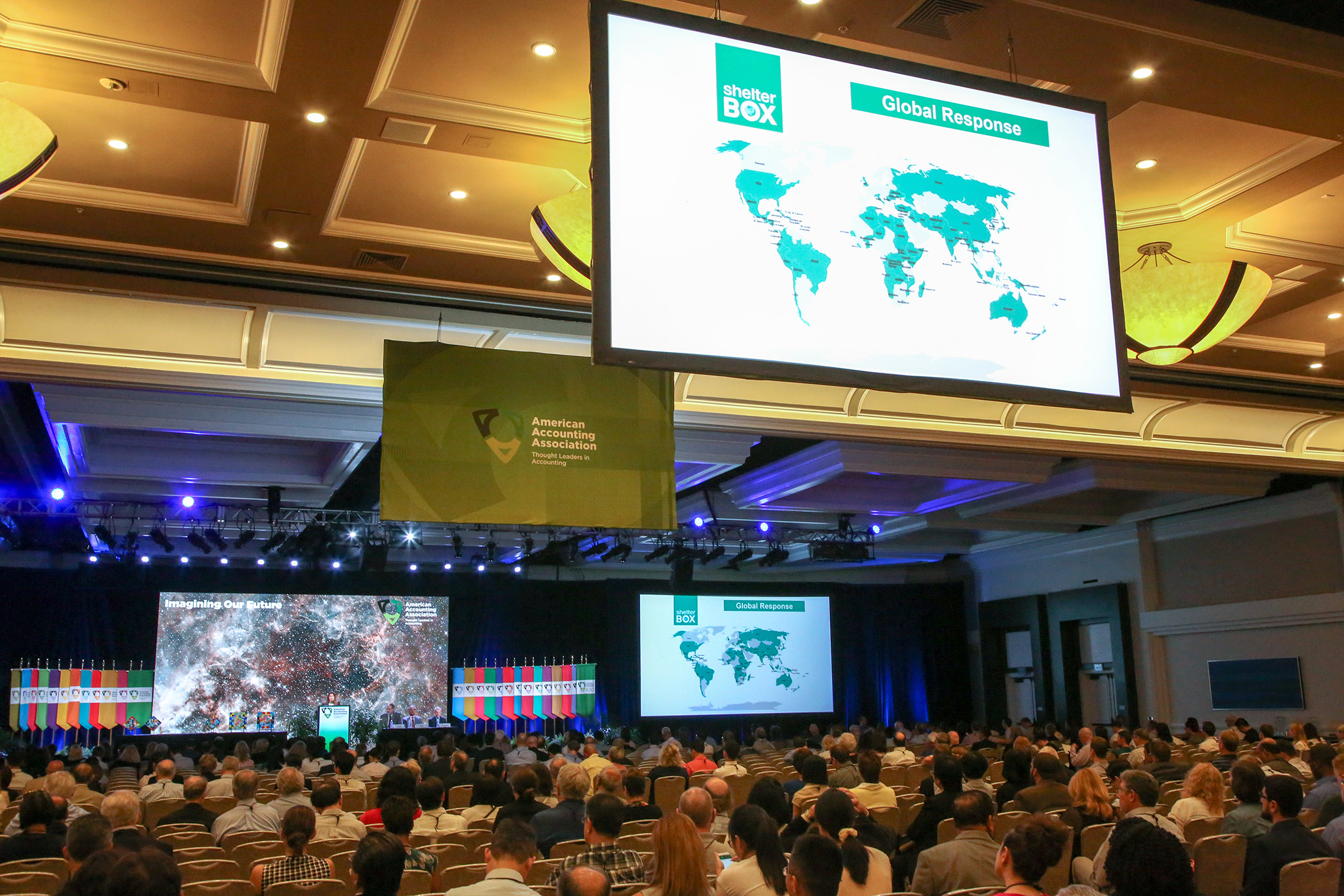 ShelterBox coverage map being shown during the keynote
