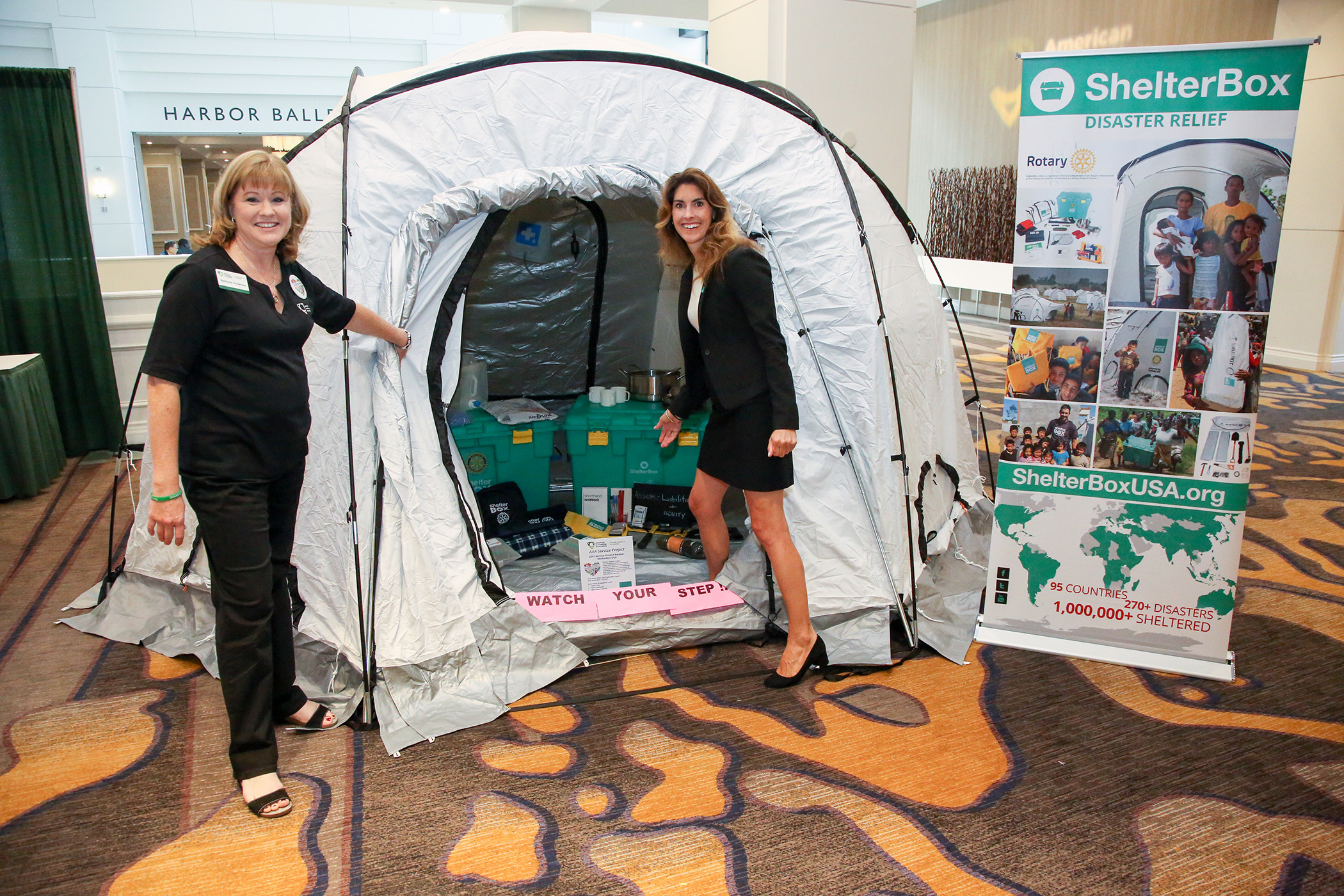 ShelterBox tent with Exhibit
