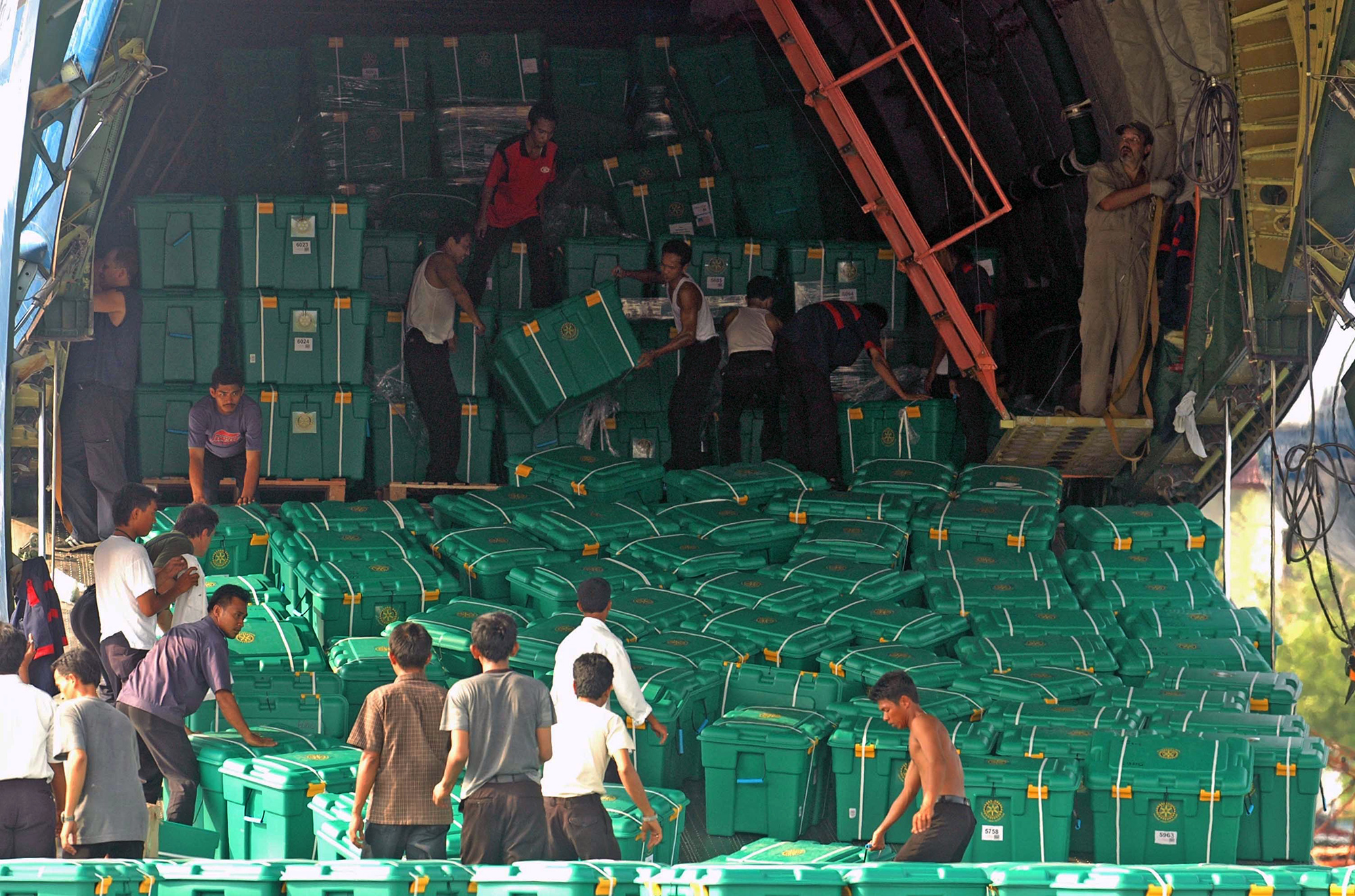 Boxes arrive after 2005 Indonesia Tsunami