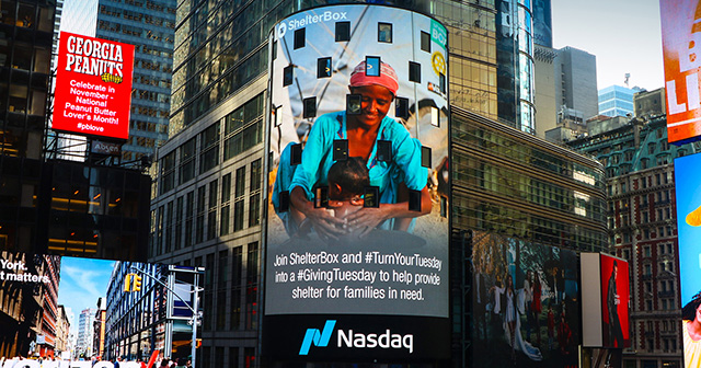 ShelterBox on the Nasdaq screen, Times Square