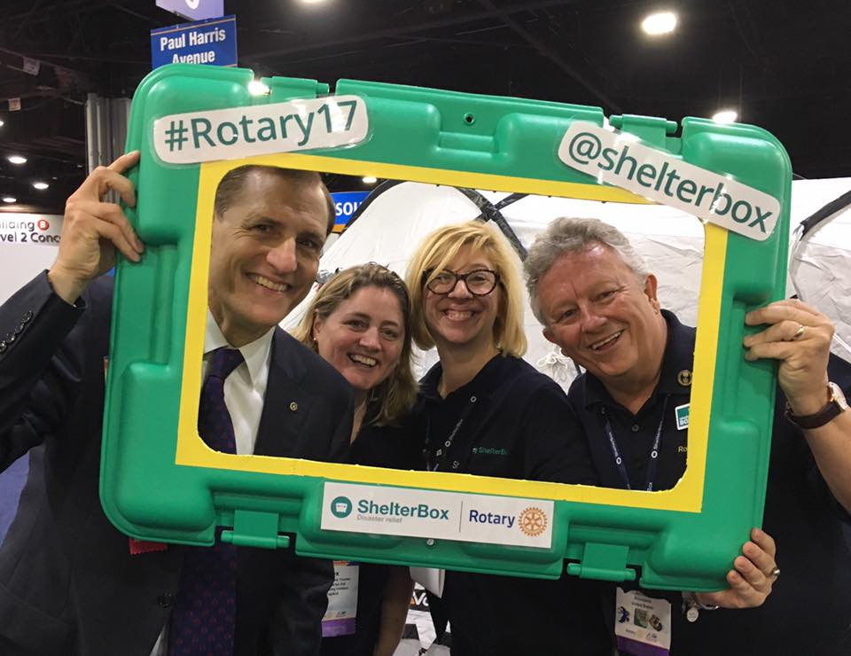 ShelterBox booth with John Hewko - Rotary Convention 2017