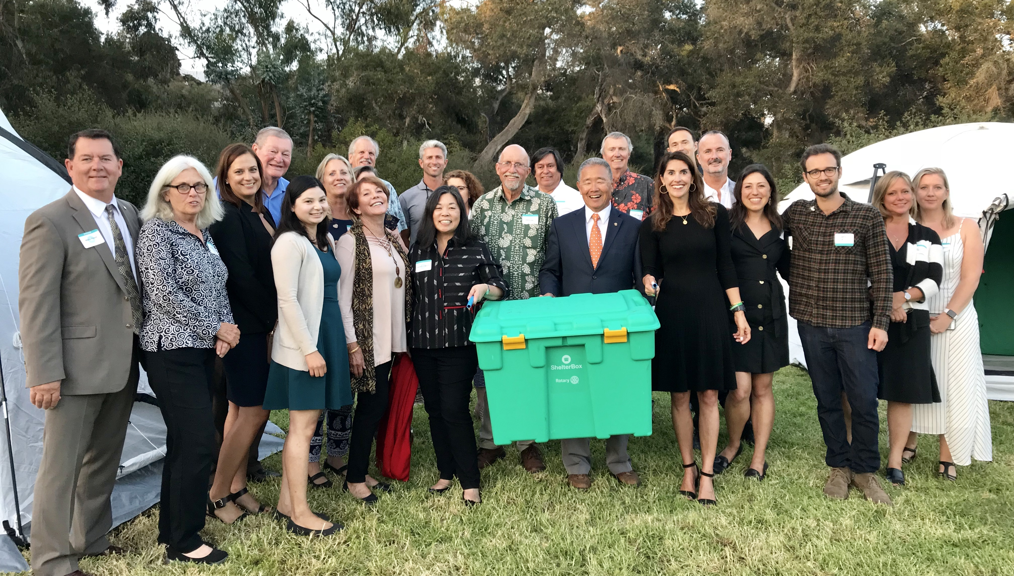 Rotarians and ShelterBox employees celebrate