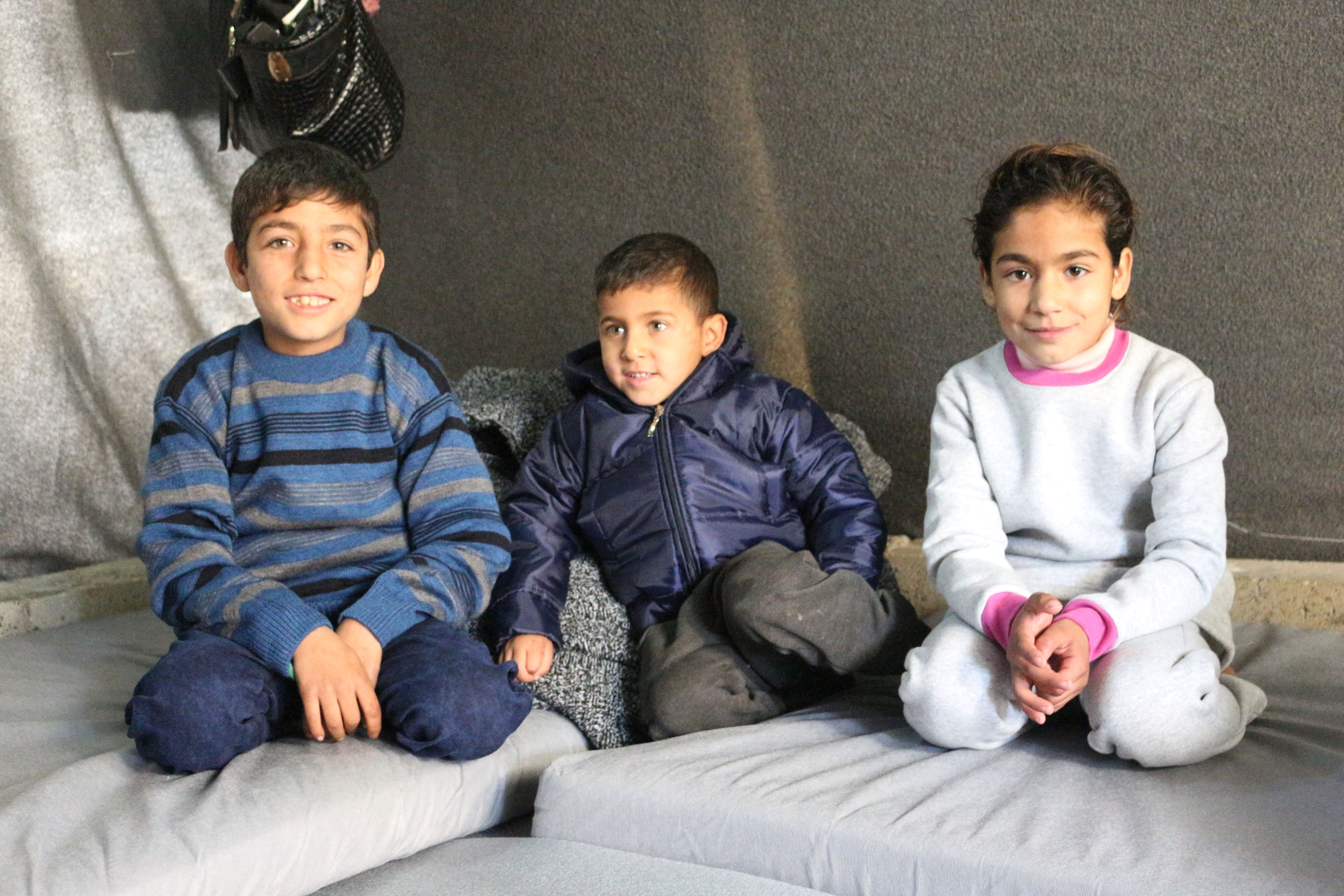 Mohammed's children are much cozier in the tent