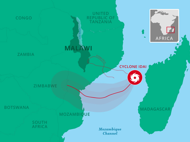 Malawi map showing Cyclone Idai path