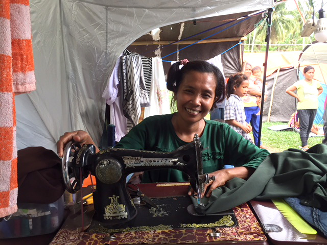 Fatnizar was able to resume her work as a seamstress