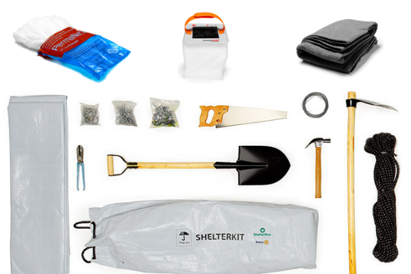ShelterKit laid out with tools