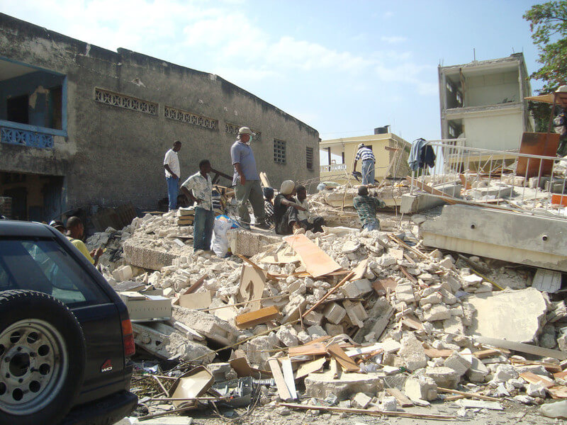 Buildings reduced to rubble