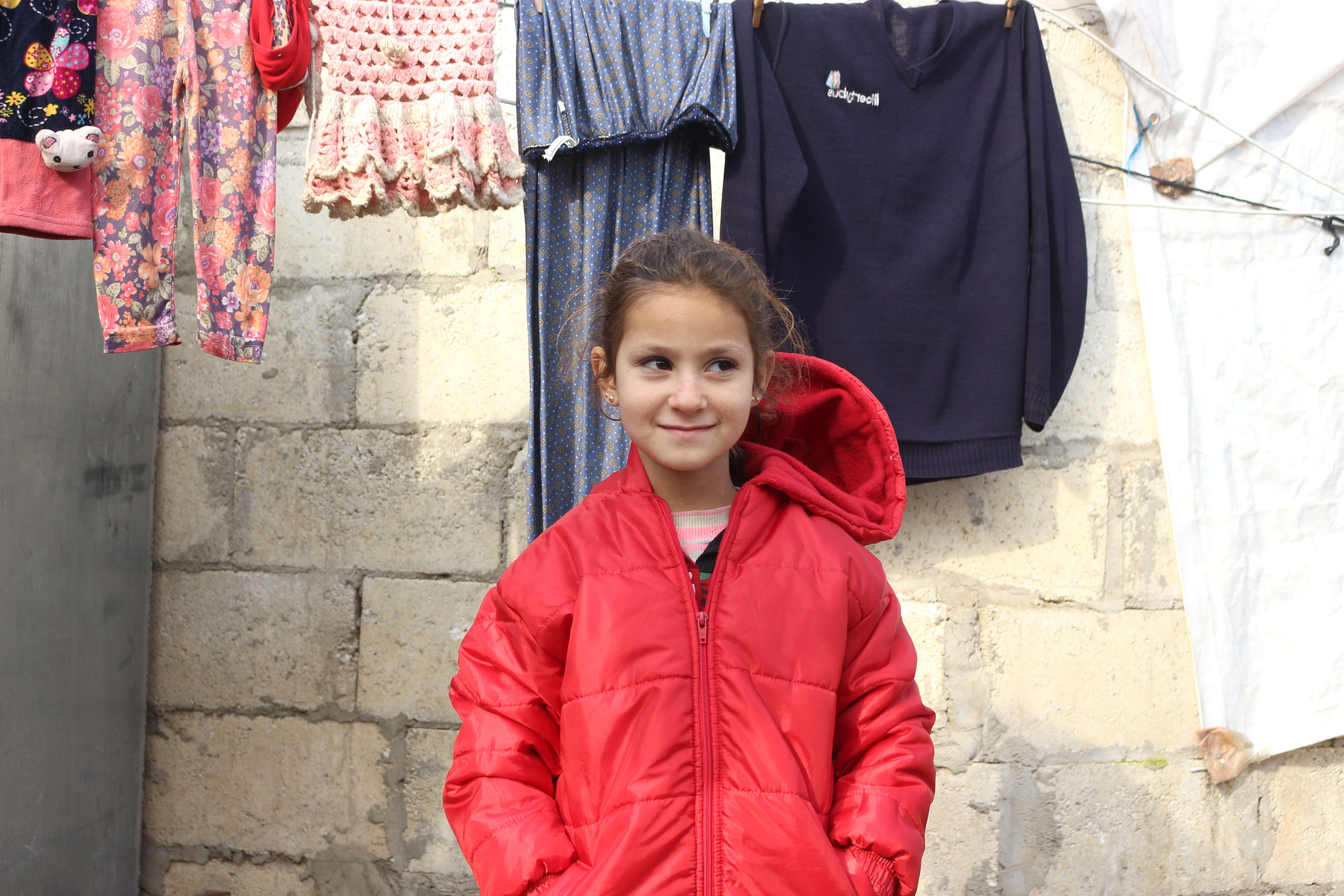 Fatima in her new red jacket