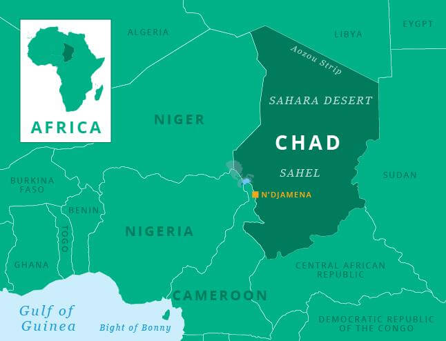Map showing Chad's location in Africa, capital N'Djamena, and Lake Chad