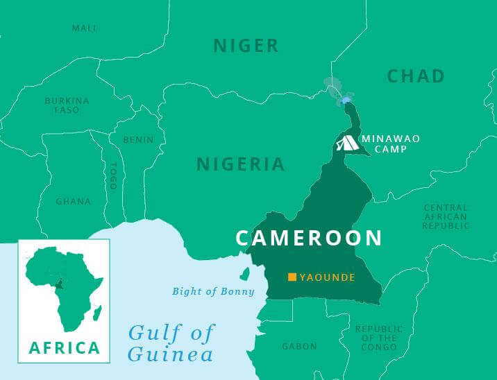 Map of Cameroon and West Africa showing location of Minawao Camp in the North