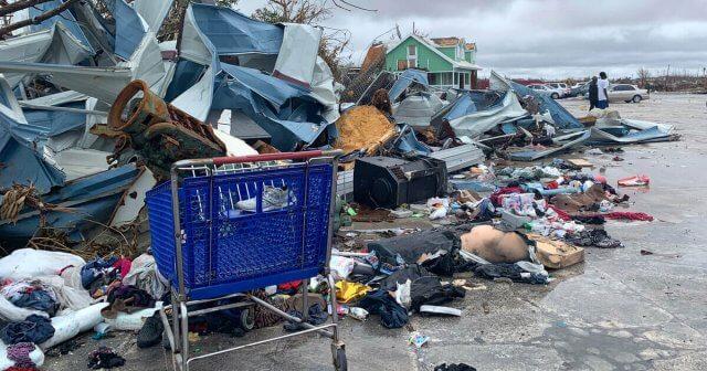 Pile of debris created by Hurricane Dorian