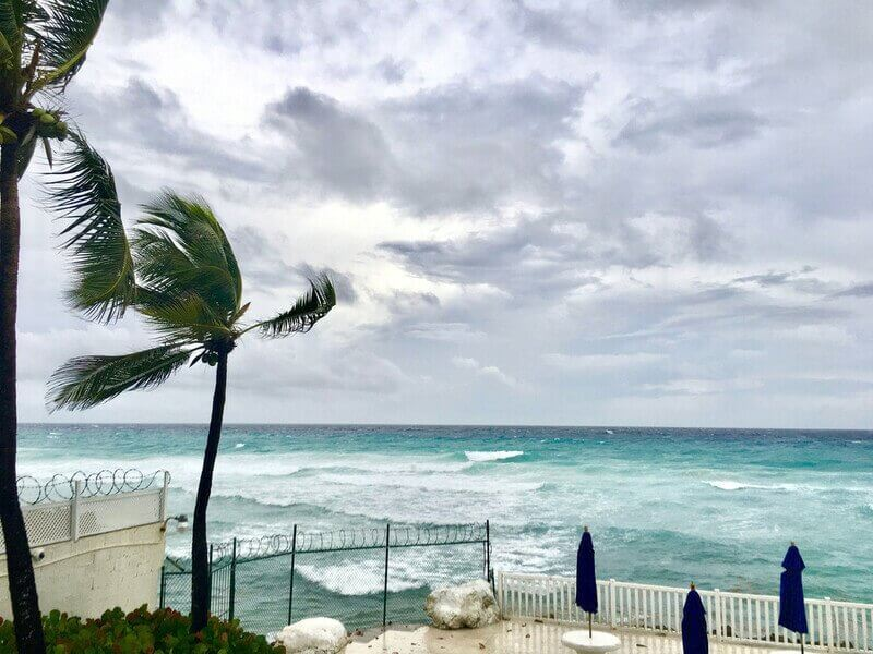 Strong winds on a beautiful beach in Barbados