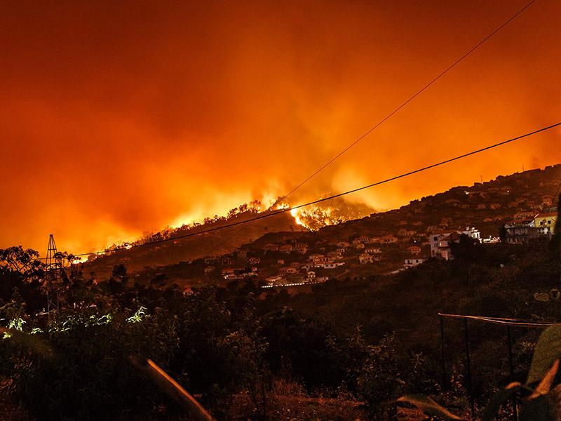 A bushfire turned the whole sky orange