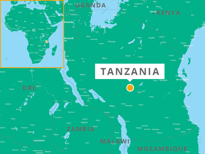 Map showing Tanzania, located on the eastern coast of Africa