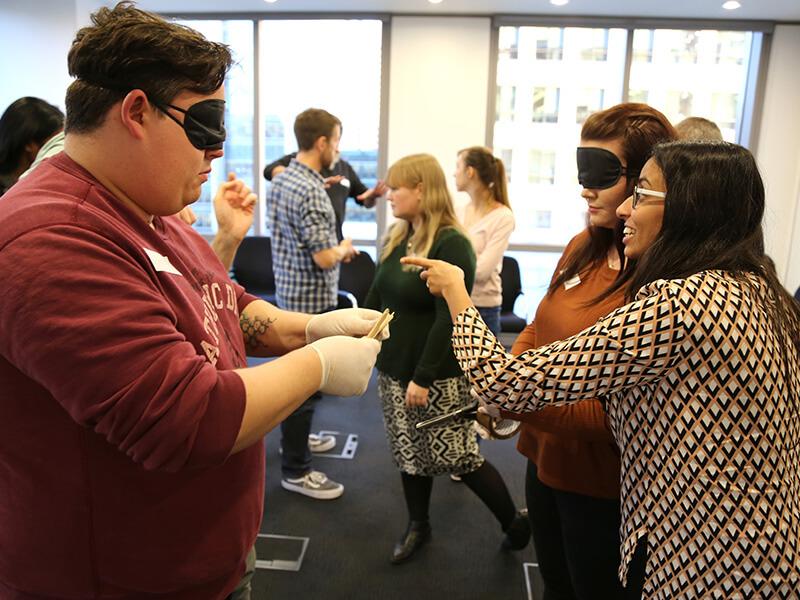 Blindfolded Team building exercise