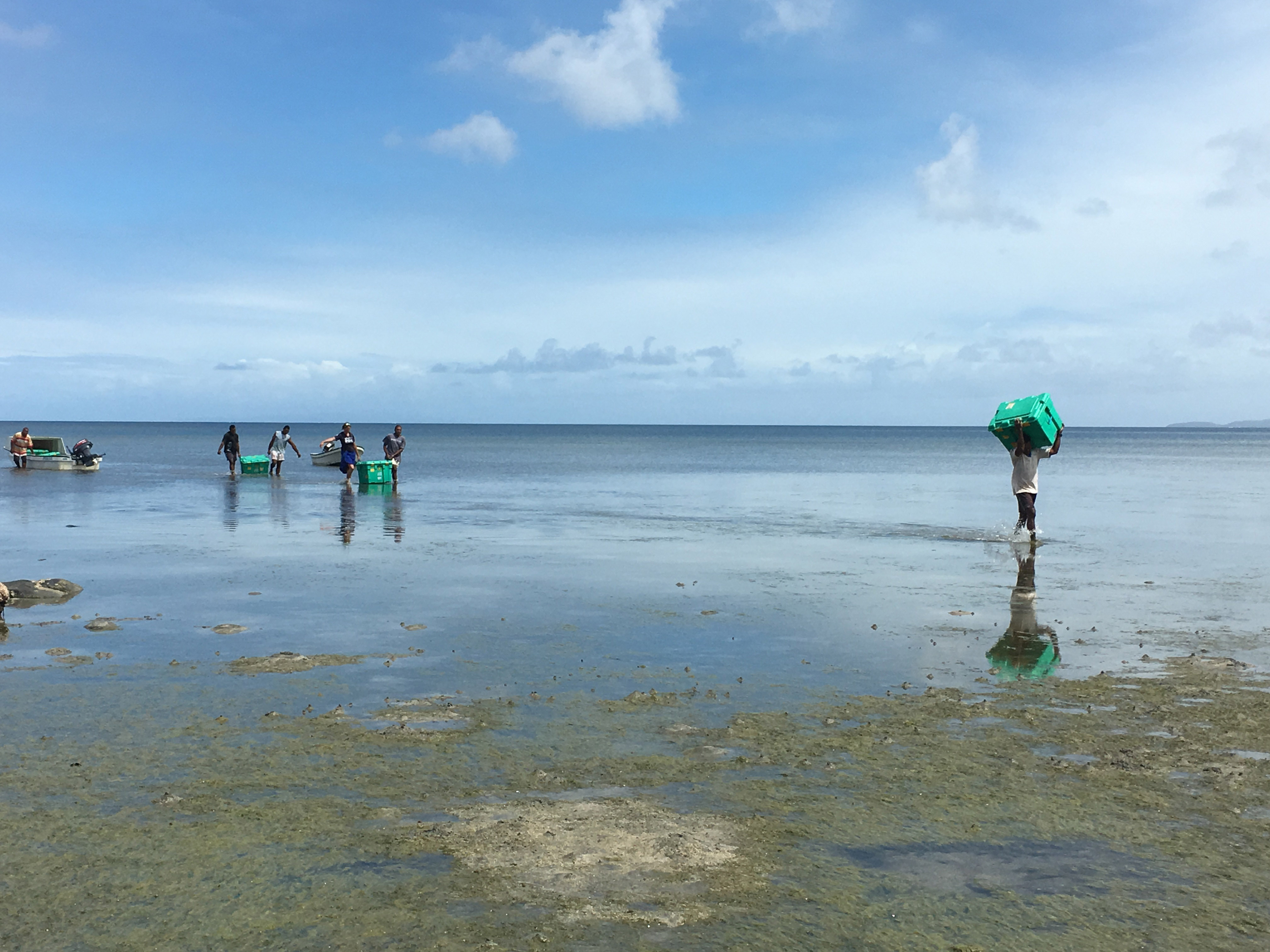Moving ShelterBoxes across a flooded beach, Fiji