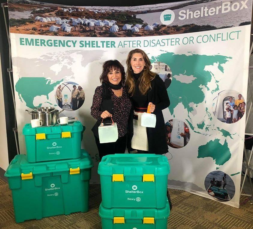 Laura Angelini and ShelterBox president Kerri Murray