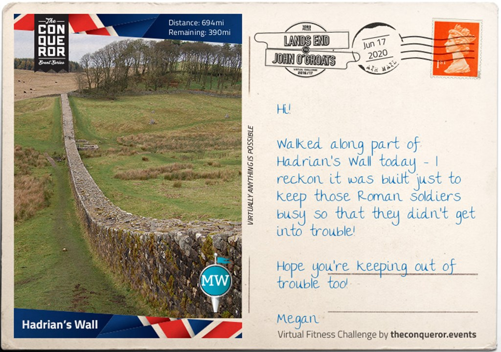 Postcard of Hadrian's wall. Megan reckons it was built to keep the soldiers out of trouble!