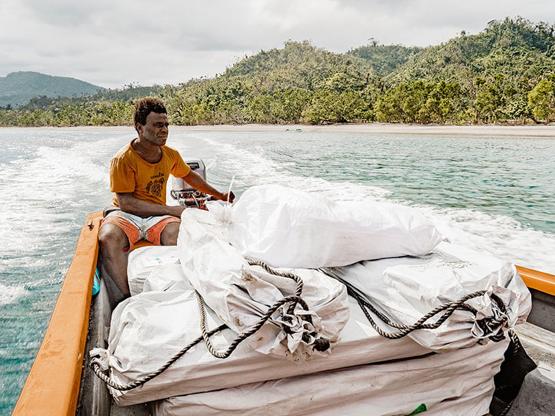 ShelterBox items arriving by boat in Vanuatu