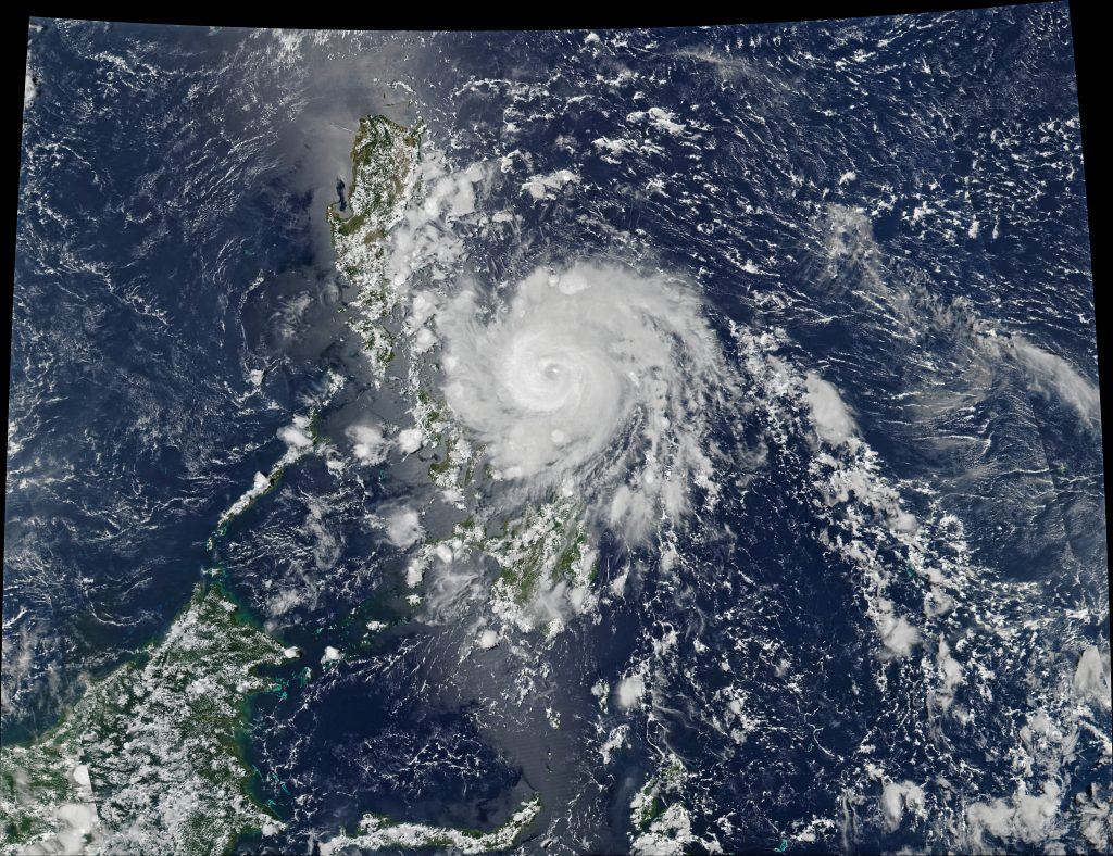 Aerial view of Typhoon Vongfong, covering most of the archipelago