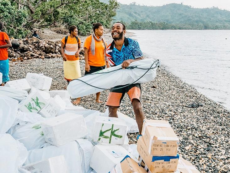 Aid items on the beach
