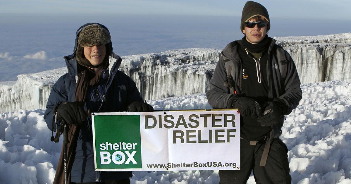 ShelterBox banner atop Mt. Kilimanjaro