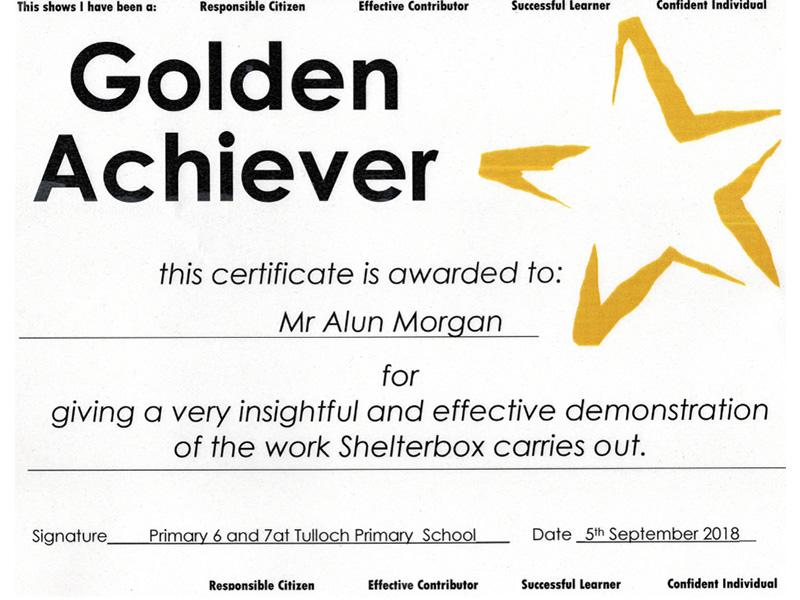 Alun Morgan Golden Achiever Certificate