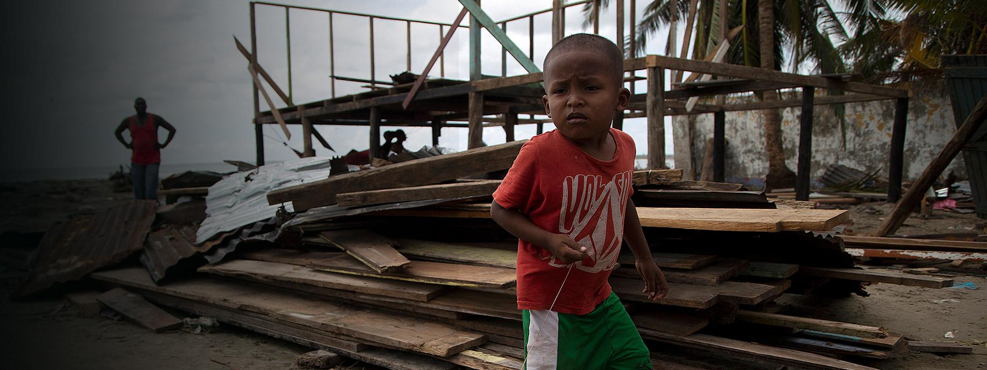 Child affected by Hurricane Iota