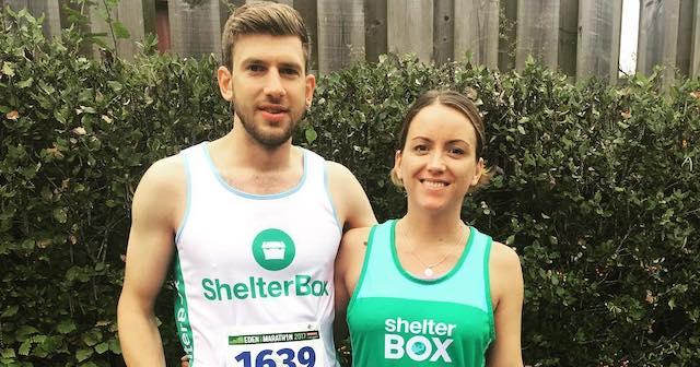 Marathon Runners wearing ShelterBox jerseys