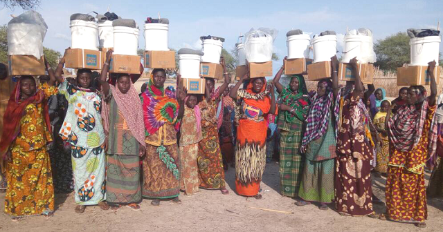 Chadian women holding ShelterBox aid items above their heads