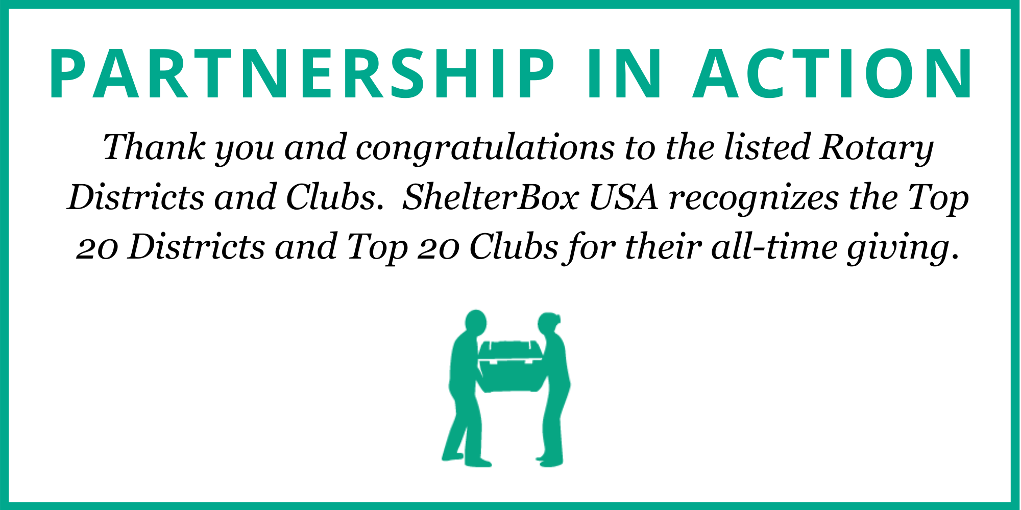 Thank you and congratulations to the listed Rotary Districts and Top 20 Clubs for their all-time giving