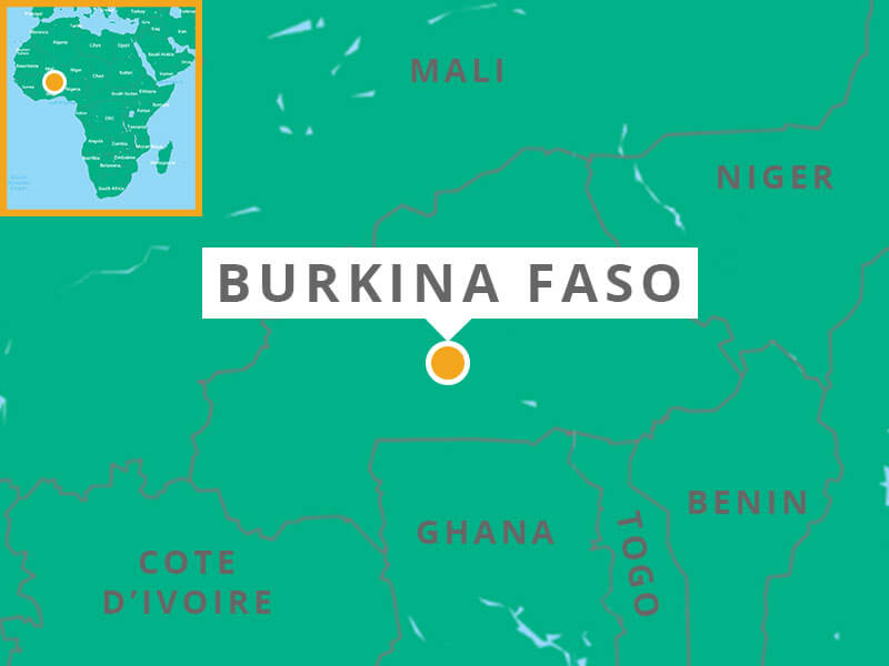 Map showing Burkina Faso's location in the interior of West Africa